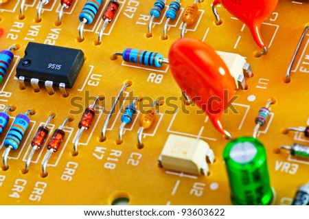 Close-up of the board with electronic components. - stock photo