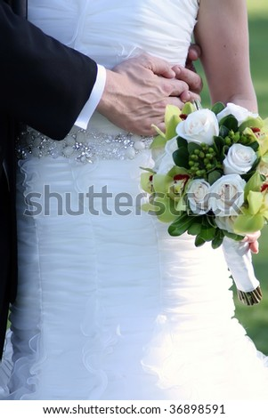 Close up of the bride and groom on their wedding day