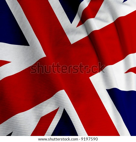 Close up of the British flag, square image