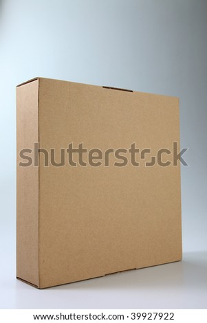 close up of the brown cardboard box on the plain background