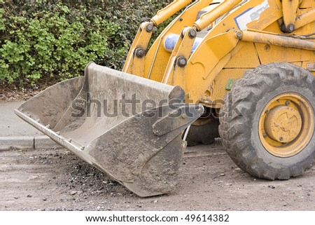 Close up of the bucket on a construction machinery digger