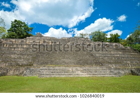 Close up of the Caana pyramid at the Caracol archaeological site of Maya civilization in Belize. Central America