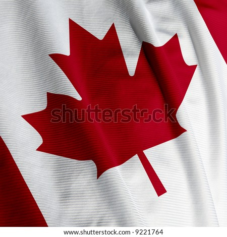 Close up of the Canadian flag, square image