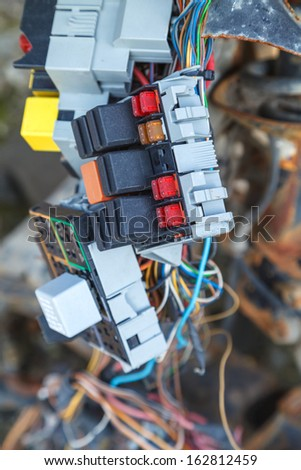 Close up of the car fuse box - stock photo
