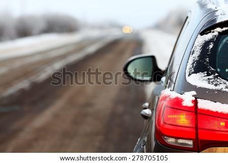 close-up of the car headlights wheel - stock photo
