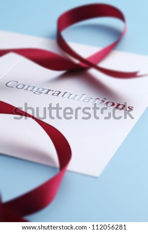 close up of the card with text Congratulations