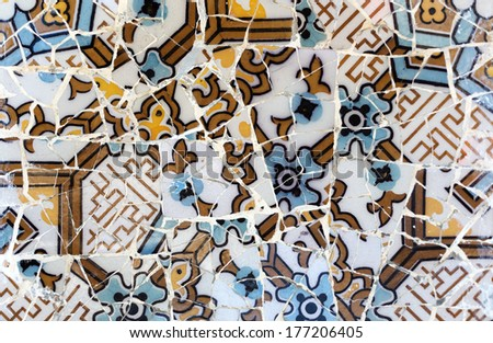 Close-up of the ceramics in Park Guell Barcelona created by Gaudi - stock photo
