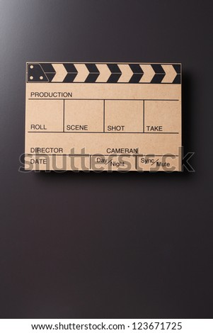 Close up of the Clapper board