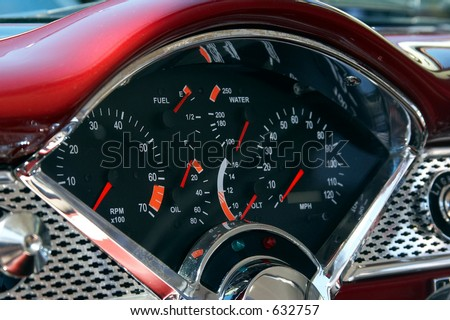 Close-up of the classic car dashboard