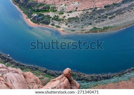 Close up of the Colorado River at Horseshoe Bend, Page, Arizona, a top American destination - stock photo