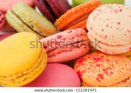 Close-up of the colorful macarons - stock photo