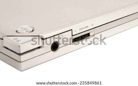 Close-up of the control in cd dvd player, with focus on volume - stock photo
