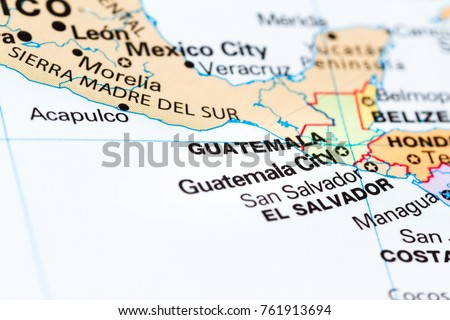 Close Country Guatemala On World Map Stock Photo (Edit Now ...