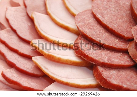 Close up of the cut sausage - stock photo