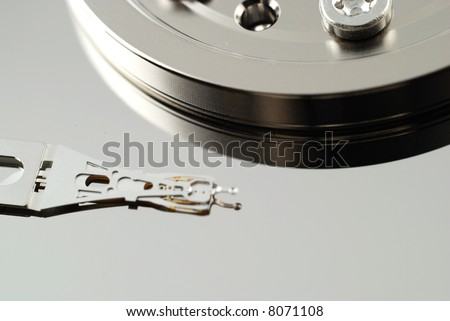 Close up of the defect in hard drive computer that produces an error - stock photo