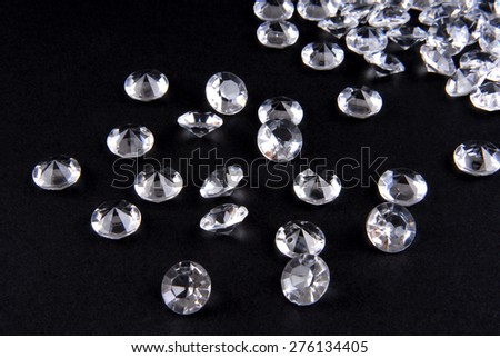 close up of the diamonds on black background - stock photo