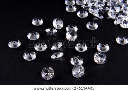 close up of the diamonds on black background - stock photo