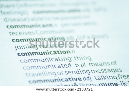Close up of the dictionary definition of communication