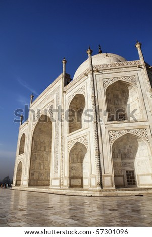 Close up of the eastern side of the Taj Mahal. - stock photo