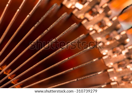 Close up of the edges of  CPU computer heat sink. - stock photo