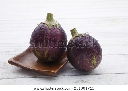 close up of the egg plant with water plant - stock photo