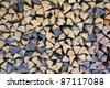 Close-up of the ends of logs in a pile of firewood. Suitable for an abstract natural background - stock photo