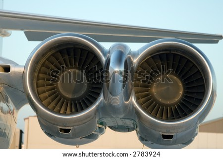 Close up of the engines of an aircraft