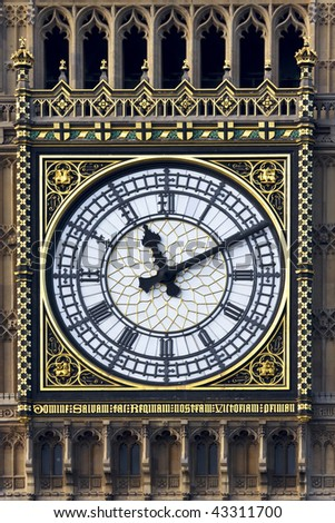 Close up of the face of the clock on Westminster tower (Big Ben) - stock photo