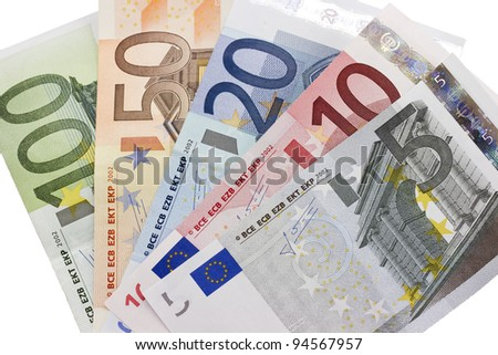 Close-up of the fan of 5, 10, 20, 50, 100, Euro banknotes on white background - stock photo
