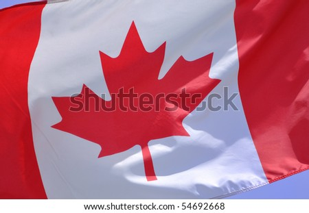 Close up of the Flag of Canada - stock photo