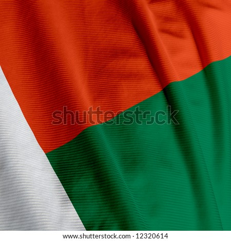 Close up of the flag of Madagascar, square image