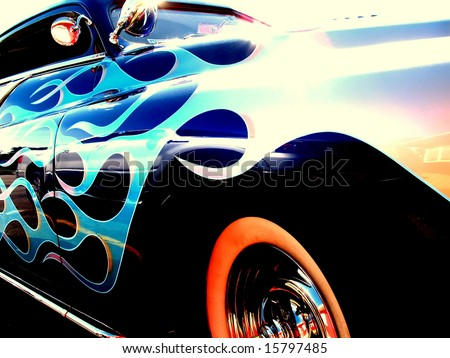 Close up of the flames on a vintage hot rod - stock photo
