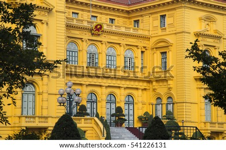 Close up of the French built President Palace in Hanoi, Vietnam