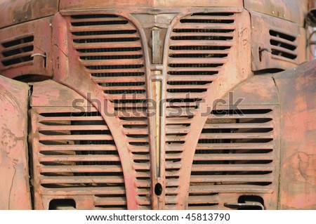 Close -up of the Front bonnet of an old rusty car.