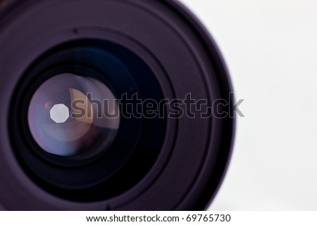 Close-up of the front lens of a medium format camera - stock photo