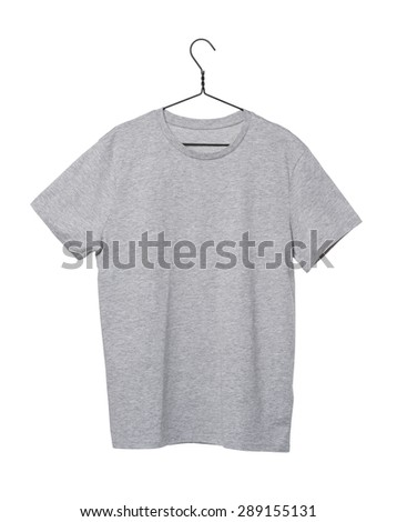 Close-up of the grey t-shirt on the clothes hanger. Isolated. - stock photo