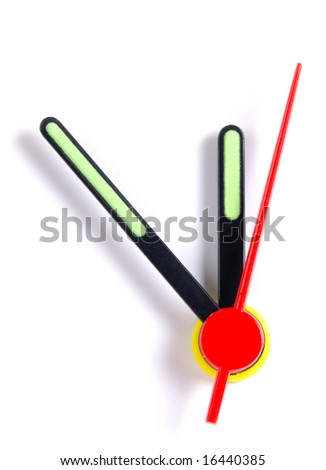 Close up of the hands of a clock, isolated on white, with the hands at five to midnight. - stock photo