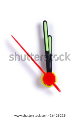 Close up of the hands of a clock, isolated on white, with the time approaching midnight/midday. - stock photo
