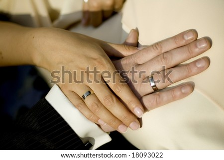 close up of the hands of bride - stock photo