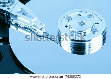 close up of the hard drive,computer data concept - stock photo