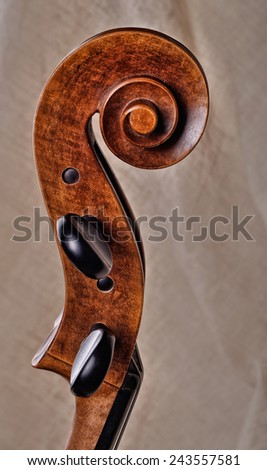 Close up of the head of a cello - stock photo