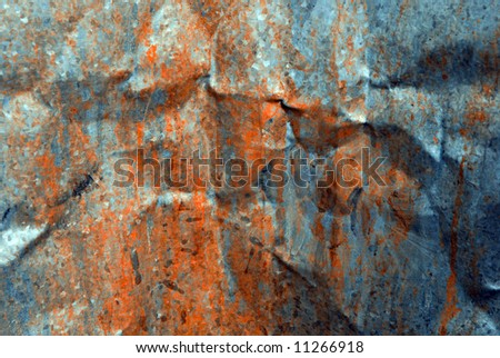 Close up of the inside of a rusty, dirty metal garbage can - stock photo
