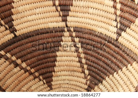 close up of the inside of an African basket for background - stock photo