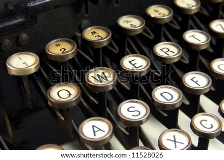 Close-up of the keys on an antique typewriter