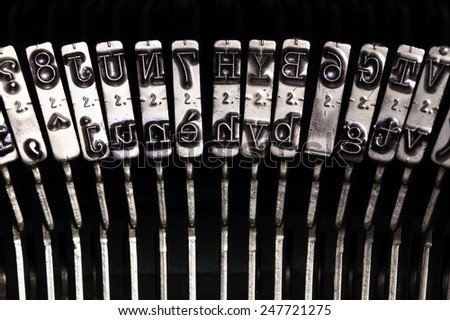 Close up of the letters on an old typewriter