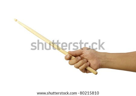 close up of the man holding drum stick - stock photo