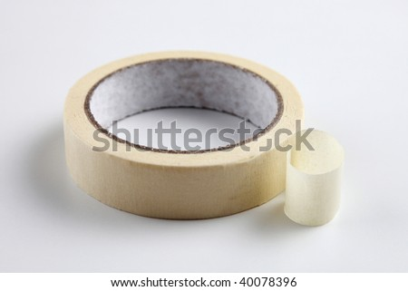 close up of the masking tape on the plain background - stock photo