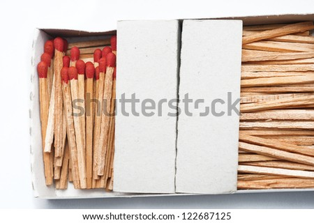 Close-up of the matches in the box - stock photo
