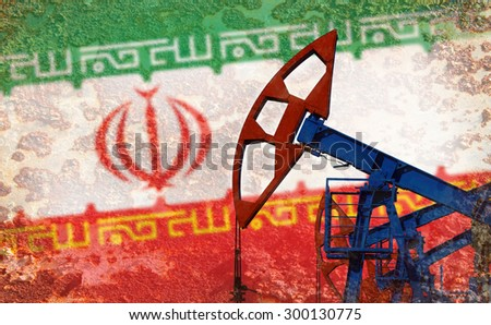 close-up of the oil pump on the background of the flag Iran  - stock photo