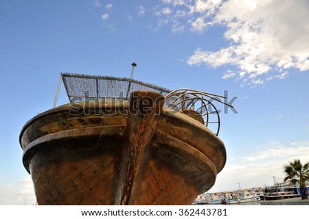 Close-up of the old wooden fishing boat - stock photo